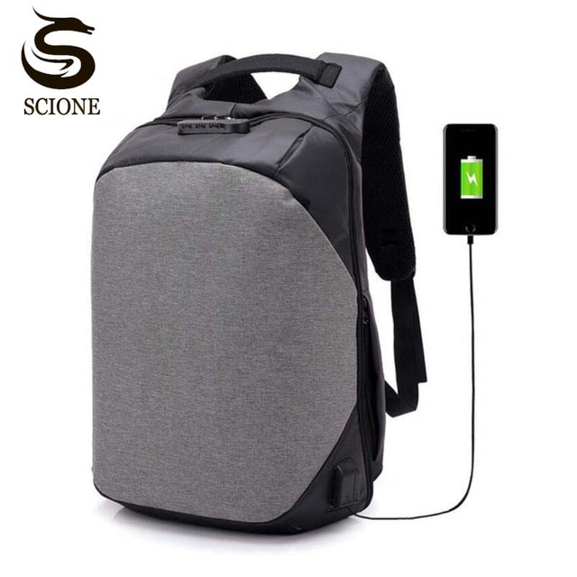 Men Backpack Anti Theft Password Locks USB Charging Laptop Travel Backpacks  Waterproof School Bag Male Mochila f0b036ca1699f