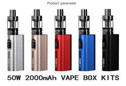 HT originais 50 mods de cigarro eletrônico kit 2200 mah 50 w caixa de cigarro e mod 510 fio 2.0 ML tanque hookah eletrônico caneta vaper