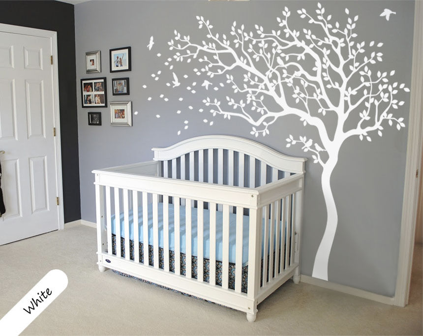 2017 HOT Huge White Tree Wall Decal Sticker Nursery Baby Wall Decal Tree Wall Stickers For Kids Rooms 213X210CM Wall Tattoo D534