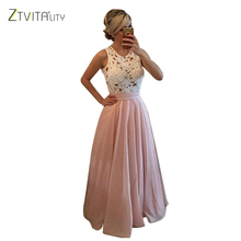 ZTVitality 2017 Fashion Beading Lace Chiffon Patchwork Elegant Party Dresses Summer Women Long Dress Sleeveless Sexy Vestidos