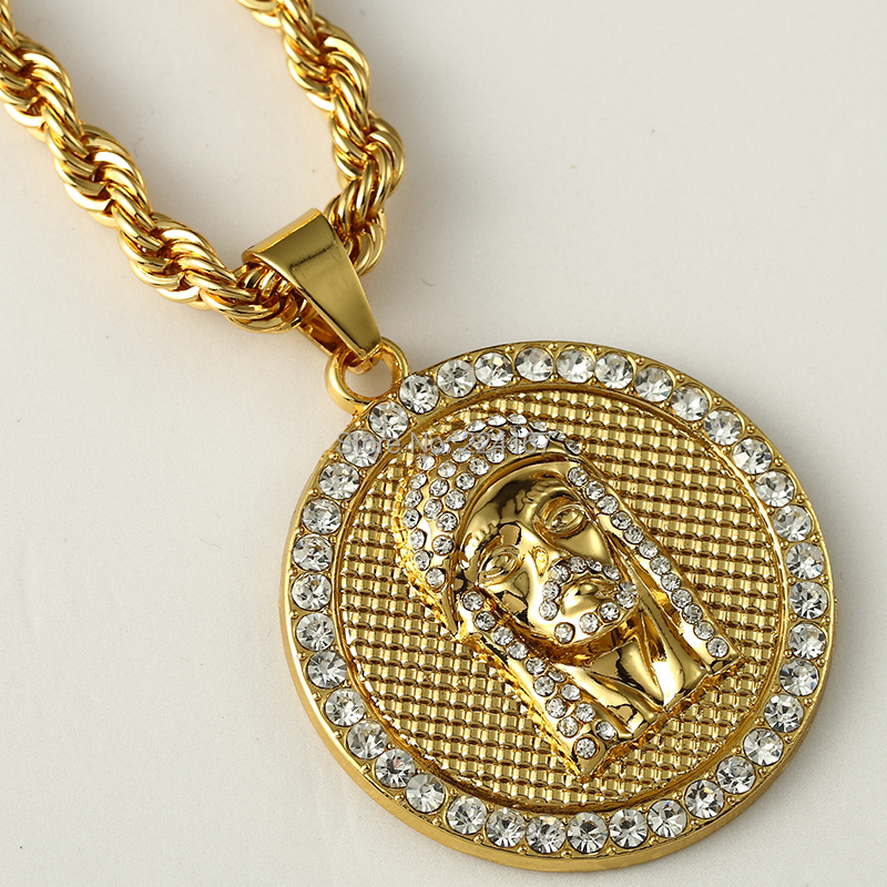 Fashion gold filled crystal jesus piece pendant necklace for men fashion gold filled crystal jesus piece pendant necklace for men women hip hop jewelry with gold chunky chain long coin necklace in pendant necklaces from aloadofball Images