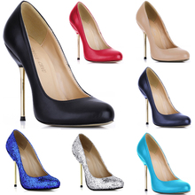 купить Concise Black Office Work Shoes 12cm Women Round Toe High Heels Sexy Party Pumps Red Bottom OL Ladies Shoe Plus Size 10 3845-b1 по цене 1348.22 рублей