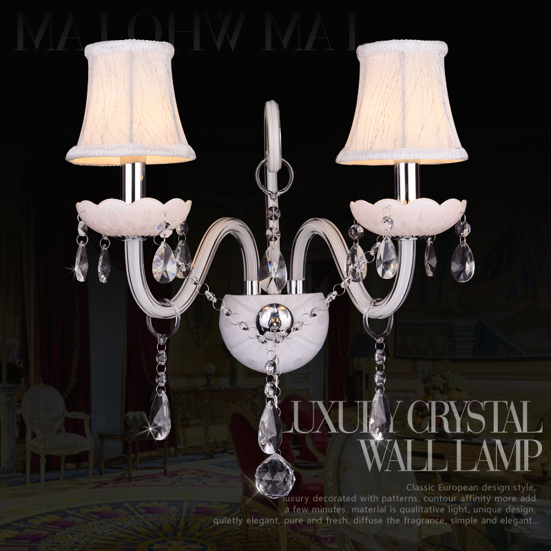 ФОТО White K9 Crystal LED Crystal Wall Lamp Bedroom Wall Lamp Cosmetic Lamp Crystal White Crystal Sconce
