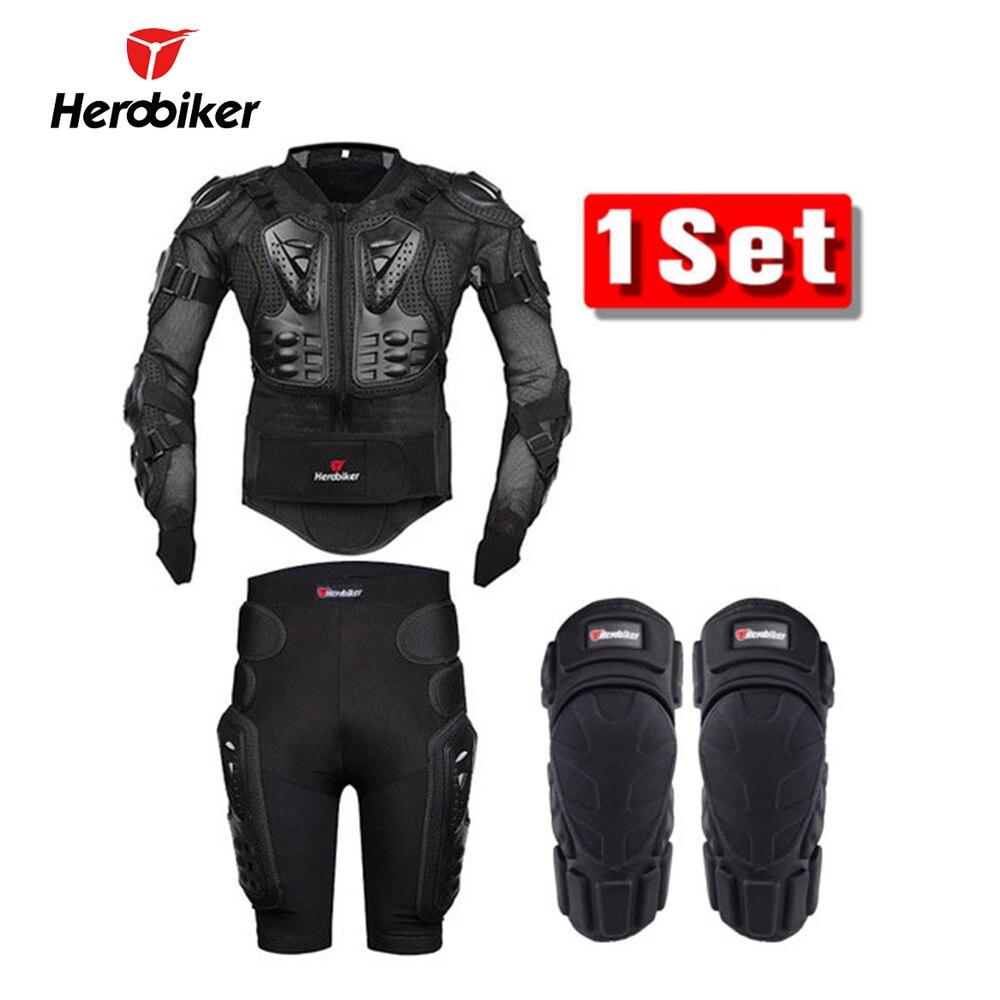 HEROBIKER moto armure corporelle veste de Protection + engrenages Shorts pantalon + Protection moto genouillère noir moto veste