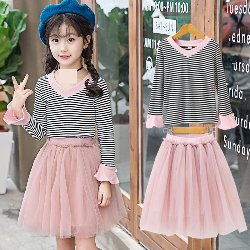 2018 Teenage Girls Clothing Sets Autumn Kids Outfit Infant Children Toddler Girls Clothes Long Sleeve Striped T-shirts + Skirts kids stripe outfits for teenage girls long sleeve clothes sets girls school shirts