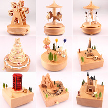 Wooden Box Music Carousel Music Box Wooden Craft Box Juego D
