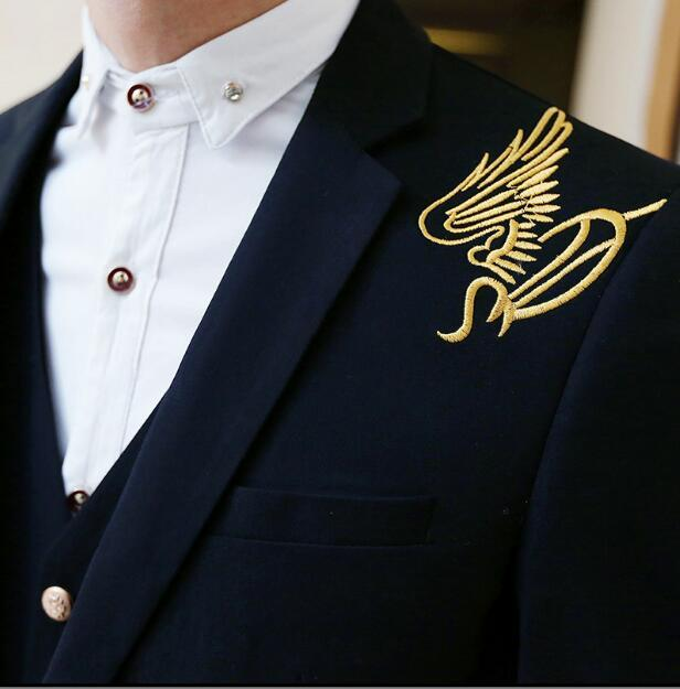Elegant Black Single Breasted Men Suits Blazer With Pants Vest 2018 New Gold Embroidery Men Suit Slim Fit Terno Masculino 3Piece