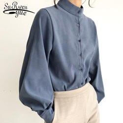 Модная женская блузка рубашка фонарь Длинные рукава рубашки женские Твердые Стенд воротник офисные блузки женские топы и блузки 2516 50