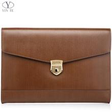 YINTE Unisex A4 Brown Leather Folder Bag Men Business Management Contract Password Lock Document Bag Manager File Folder T8570-3