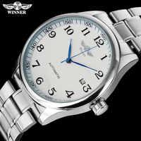 VINCITORE degli uomini casuali di modo machanical orologi fascia in acciaio inox argento caso di lusso automatico orologi da polso relogio masculino