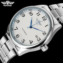 WINNER fashion casual men machanical watches stainless steel band silver case lu