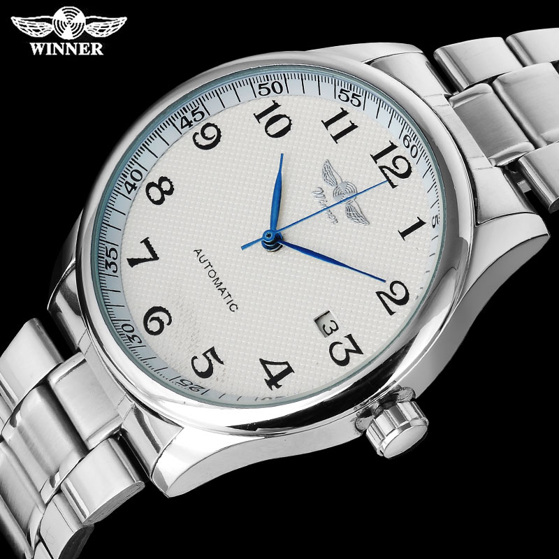 WINNER fashion casual men machanical watches stainless steel band silver case luxury automatic wristwatches relogio masculino 2017 winner famous brand men fashion automatic self wind watches white dial transparent glass silver case stainless steel band