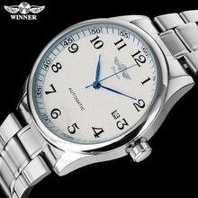 ساعة آلية رجالية غير رسمية على الموضة من WINNER سوار فولاذي غير قابل للصدأ حافظة فضية فاخرة أوتوماتيكية ساعات معصم relogio masculino
