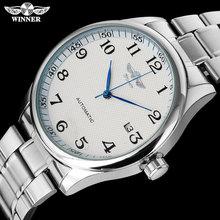 זוכה אופנה מזדמן גברים machanical שעונים נירוסטה בנד כסף מקרה יוקרה אוטומטית שעוני יד relogio masculino