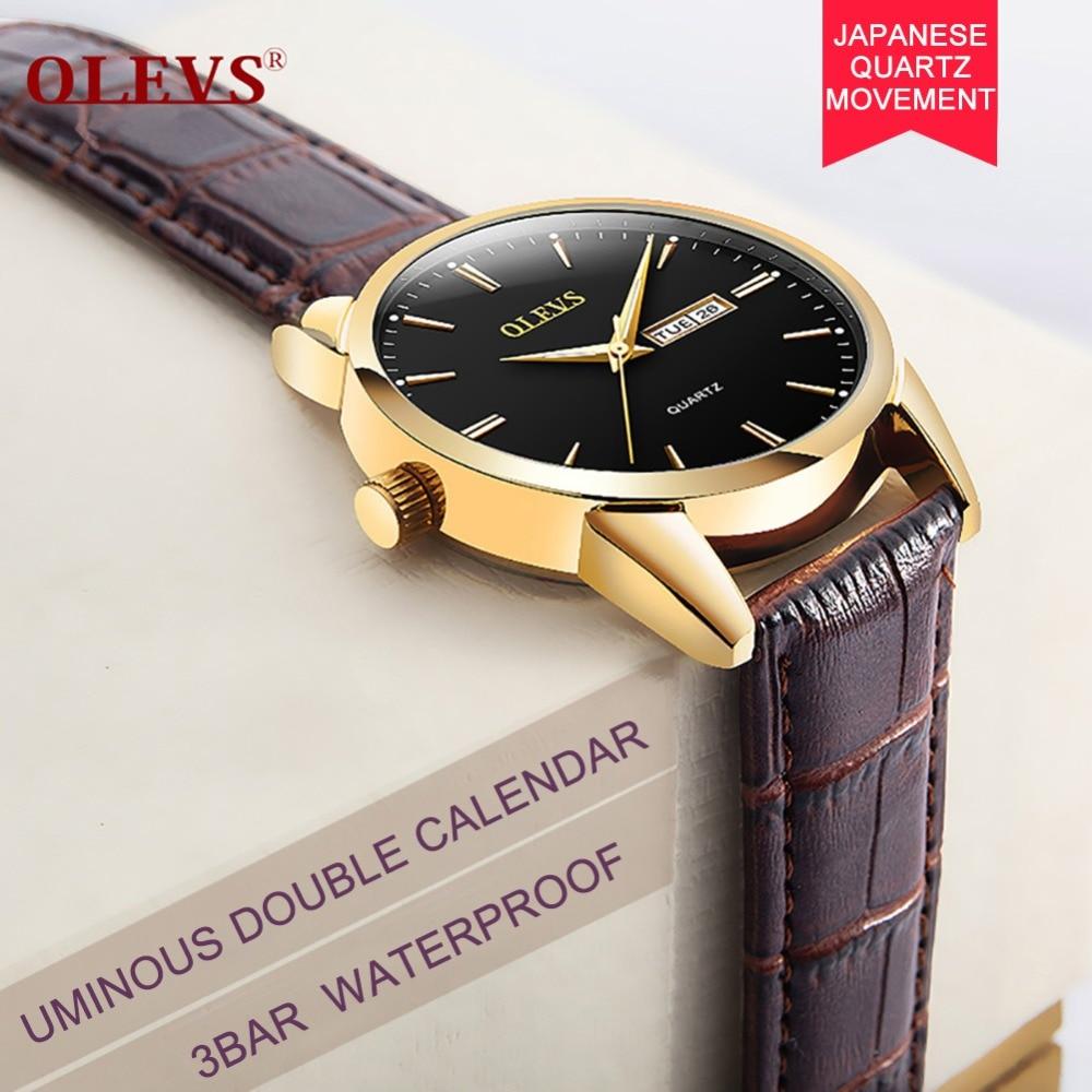 ed1edbf289a OLEVS Simples Caso De Ouro De Luxo Mulheres de Quartzo Relógios de Marca de  Topo Homens