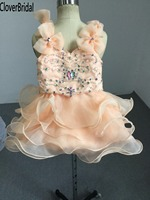 Sparkly colors rhinestones 9 month baby glitz pageant dresses V neck and back mini birthday party wedding child presente