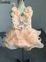 Sparkly kleuren steentjes 9 maand baby glitz pageant jurken v-hals en back mini verjaardagsfeestje bruiloft kind presente