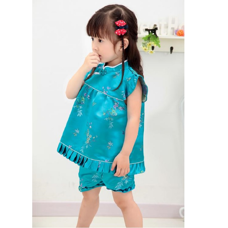Hooyi blue Floral baby girls clothes suits fashion Children Clothing set Baby Summer outfits Jumpers Pant Suit Qipao