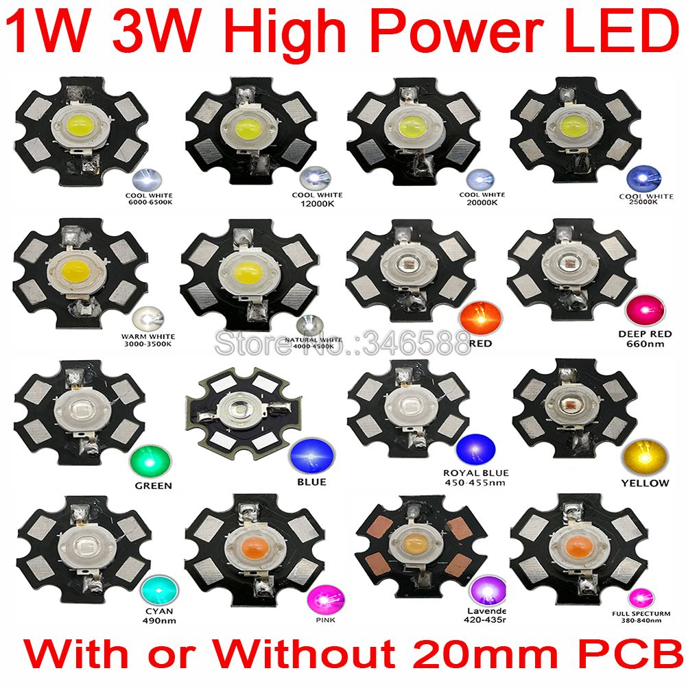 25pcs 1W 3W High Power LED Full Spectrum White Warm White Green Blue Deep Red Royal Blue Orange Pink With 20mm Black Star PCB