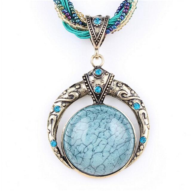 Female vintage choker natural stone pendants&necklaces big boho necklaces ethnic