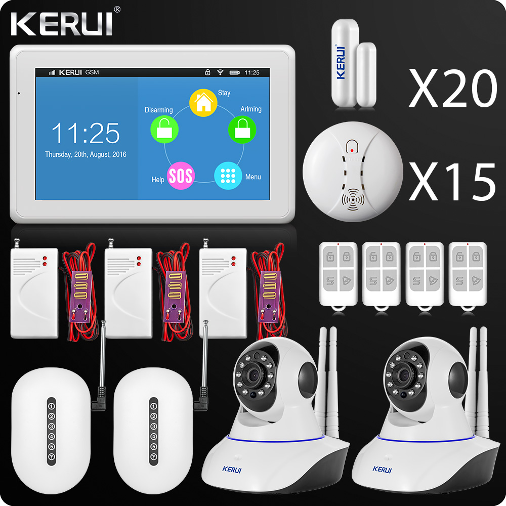 DHL 2018 Kerui Latest Touch-Screen WIFI GSM Alarm 7 Inch TFT Color Display Home Alarm System Security Wifi Camera Smoke Detector купить в Москве 2019