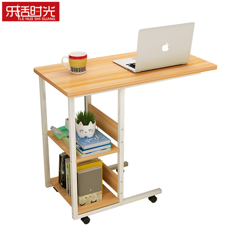 Mobile Bedside Table Minimalist Wooden Home Office Furniture Student Dorm Laptop Stand Study Room Computer Desk with Bookshelf