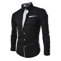 2016 Nieuwe Mode Merk Mannen Kleding Slim Fit Mannen Lange Mouw Shirt Mannen Pure kleur Katoen Casual Mannen Shirt Sociale Plus Size A20