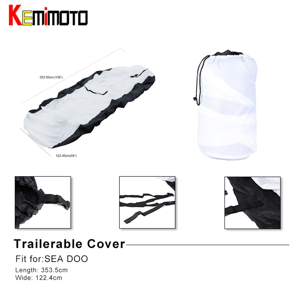 KEMIMOTO For Jet Ski Boat Cover For SEA DOO JS V-Hull Fish&Ski Pro-Style Fishing Boat Runabout Bass Boat Heavy Duty 210D
