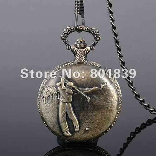 Vintage Style Bronze Golfer Mens Hit Golf Ball Pocket Watch With Chain Nice Gift Wholesale Price H149