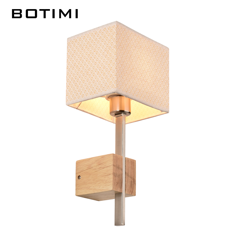 ФОТО BOTIMI fabric lampshade wall Lamp Nordic wood sconce for bedroom American style study lighting for living room balcony stairway