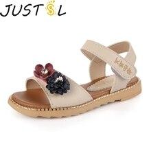 JUSTSL/пляжные сандалии для девочек; Новинка года; детская обувь принцессы с цветами; детская летняя повседневная обувь на плоской подошве; Размеры 26-36