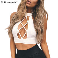 M H Artemis Sexy Hollow Out Halter Tank Top Backless Camisole Party Tops Summer Beach Crop