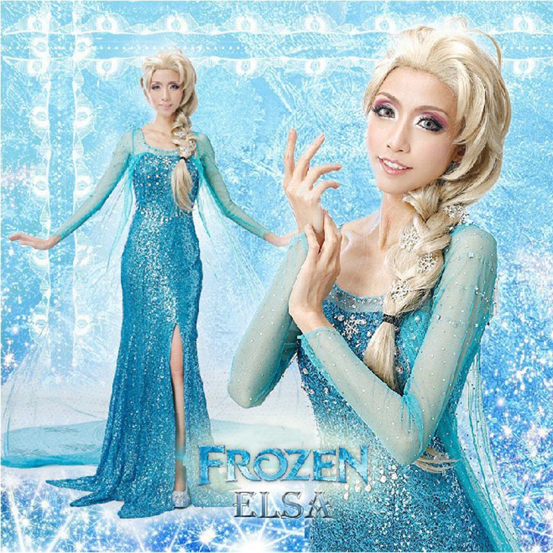 Image 3 - Free shipping adult Elsa Frozen princess with cloak Halloween cosplay wear for woman with crown and princess stick JQ 1003-in Movie & TV costumes from Novelty & Special Use