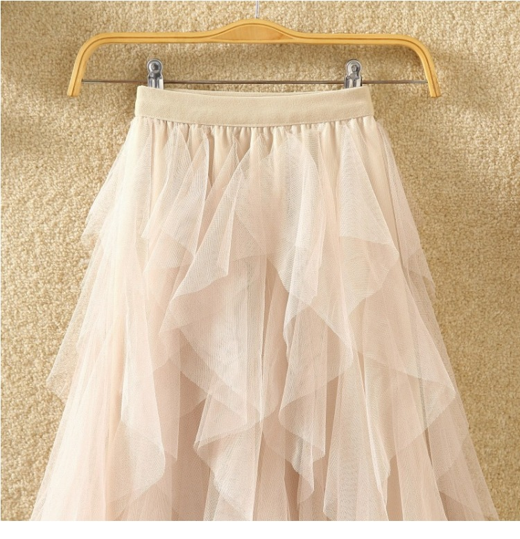 Women irregular Tulle Skirts Fashion Elastic High Waist Mesh Tutu Skirt Pleated Long Skirts Midi Skirt Saias Faldas Jupe Femmle 59