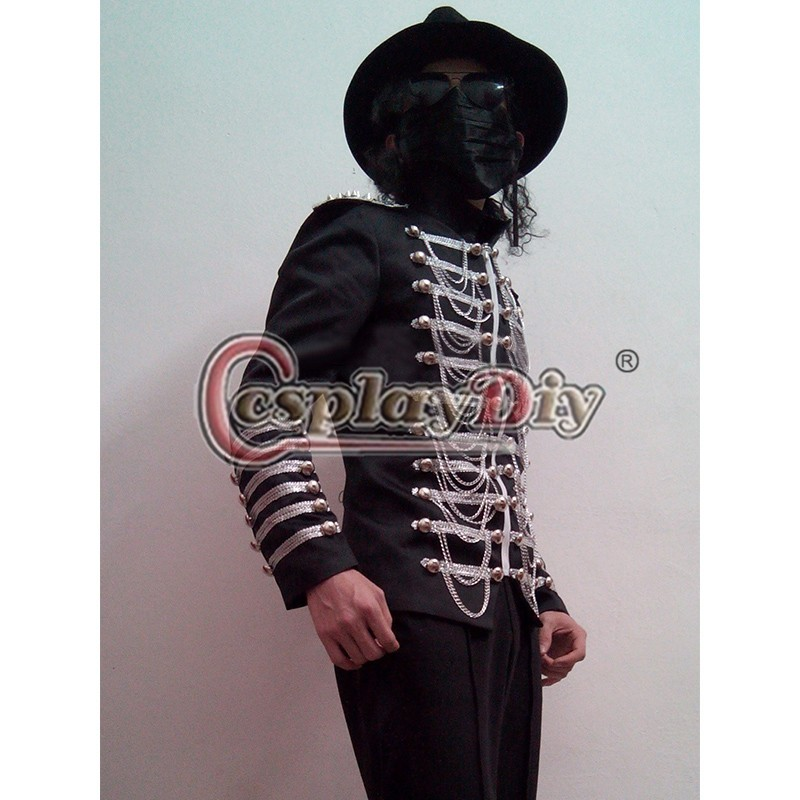 Cosplaydiy Michael Jackson Jacket and Pants Black Costume DELUXE Stage Cosplay Clothing Custom Made