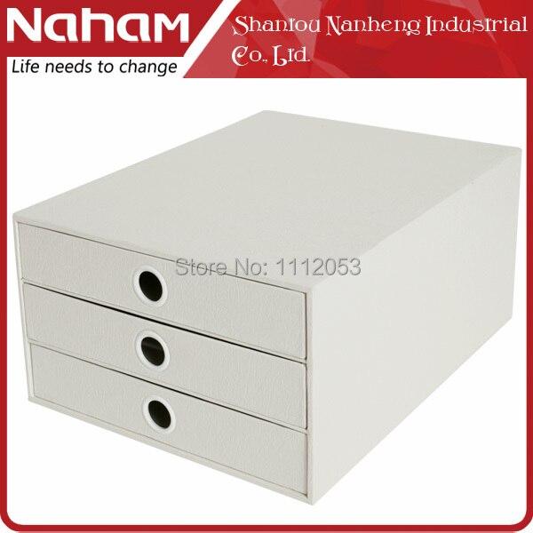 NAHAM White litchi Grain paper Three Layers drawers storage cabinet desktop cabinet finishing