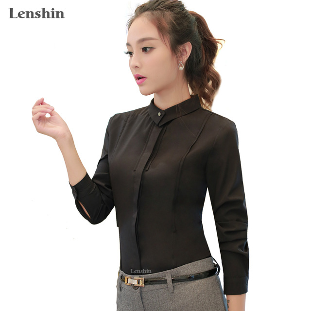 Women Slim Female Black Shirt Spring Wear Casual Style Lady Tops Long  Sleeve Blouse f70e1ca31c