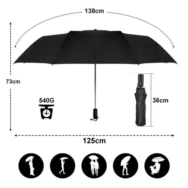 125CM Windproof Automatic Umbrella For Men Brand Large Folding Umbrella Rain Woman Double Golf Business Automatic Car Umbrellas 1