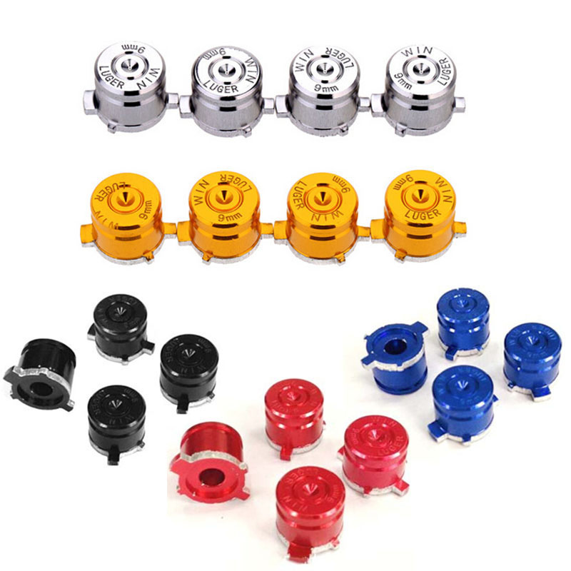 4pieces Aluminum Metal Bullet Buttons Thumb Stick Caps Replacement For Sony Playstation Dualshock 3 4 PS3 PS4 Gamepad Controller