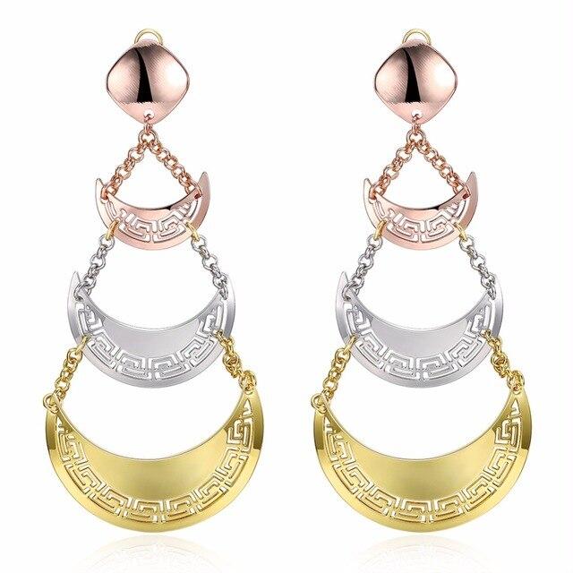 Moon Shaped Hollow Las Earrings Kc Gold Color Jewelry Long Dangle Earring