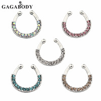 5 Colors Hoop Non Piercing Septum Clicker Nose Hoop 316L Surgical Steel Nose Ring Piercing Body