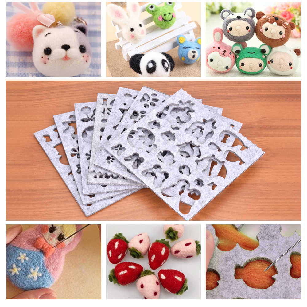 7pcs Needle Felting DIY Applique Mold Wool Felt Shapes Mold For Handcraft Woolen FeltingMaking Tools Craft Sewing Accessories