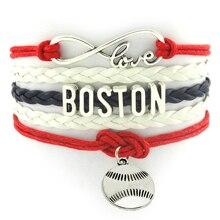 Infinity Love Fashion Handmade Boston City Baseball Sports Bracelet Jewelry Lobster Clasp Baseball Boston Red Wax Cord Bracelet