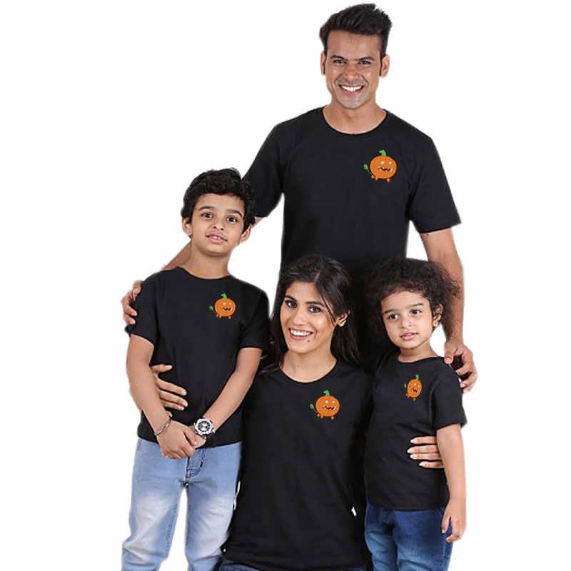 Desenhos animados abóbora família olhar combinando roupas pai mãe filha filho mamãe e me crianças tshirt roupas de bebê conjunto casual algodão