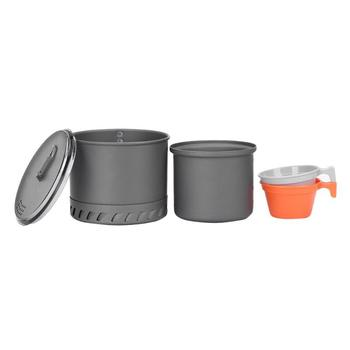 Outdoor Camping Cookware Set Marching Utensils Tableware Cooking Stove Kit Travel Pan Hiking Picnic Camping Tools for 1-2 Person 6