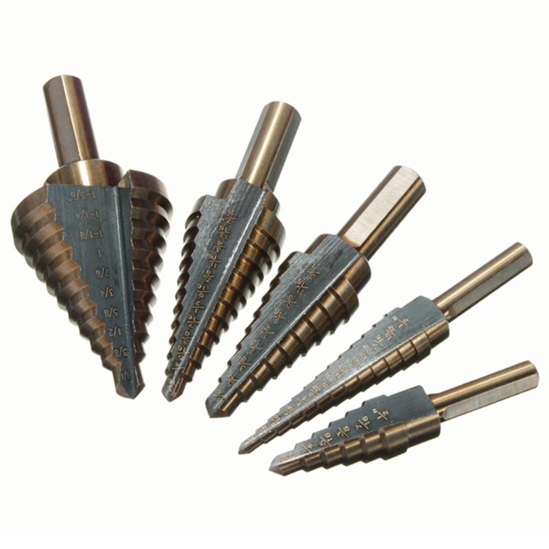 5 Pcs HSS cobalt multiple hole ladder drill bit set alu gold чехол на сиденье skyway chevrolet cobalt седан ch2 2