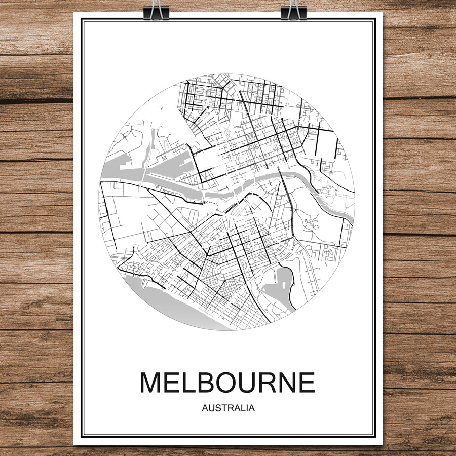 Melbourne Australia World Map.Us 1 99 Melbourne Australia Abstract World City Street Map Print Poster Coated Paper Cafe Living Room Home Decor Wall Sticker 42x30cm In Wall