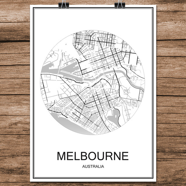 melbourne australia abstract world city street map print poster coated paper cafe living room home decor