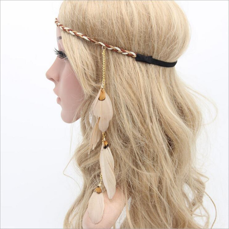 Bohemian Festival Feather Headband Hippie Indian Headdress Hair Accessories Boho Peacock Feather Headdress freeshipping