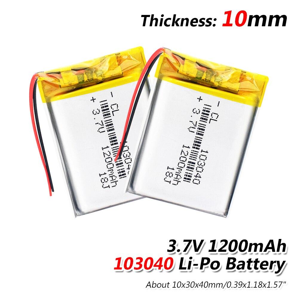 1/2/4 Pcs/lot 3.7 V Lithium Ion Polymer Li Polymer 103040 1200mah Battery For LED Flashlight Remote Controller Selfie Stick